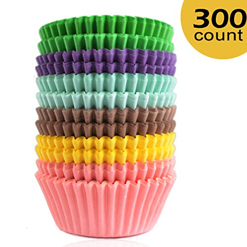 Lansian 300 Pcs Paper Cupcake Holder Liners Wrappers Baking Cups Standard Disposable Baking Supplies (300-Count 6 Style Pure Color) -