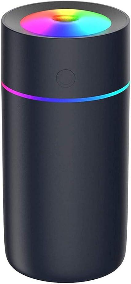 Unit/à di umidificazione premium con serbatoio dellacqua da 300ml spegnimento automatico e funzione luce notturna funzionamento Ultrasuoni silenzioso Umidificatore Mini nero
