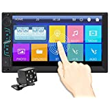 7 Inch Universal Double Din In Dash Stereo Car Receiver Audio Video Car MP5 Player Bluetooth FM Radio Mp3 AUX-in TF Card USB Steering Mirror Link wheel controls Remote Control With Rear view Camera