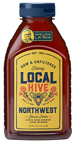 L.R. Rice 100% Pure Honey Raw & Unfiltered, Local Northwest, 16oz by Rice`s Honey, LLC