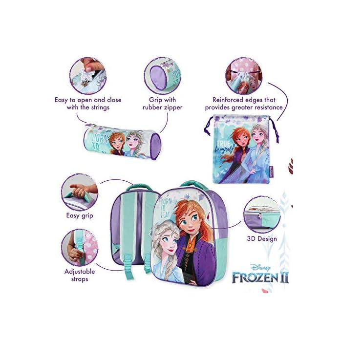 51VtMXX0bbL ❄️ PACK 3 PRODUCTOS ESCOLARES – Diseño Frozen 2. Ideal para niñas a partir de 3 años. Distintas medidas para diferentes usos a lo largo del día. Mochila escolar con tirantes: 26 x 31 x 10 cm. Bolsa de merienda: 26,5 x 21,5 cm. Estuche escolar: 21,5 x 7,5 x 7,5 cm. Material tela de poliéster resistente y ligero. Todos los productos son fáciles de usar para los niños ❄️ MOCHILA ESCOLAR INFANTIL – Parte frontal de la mochila con diseño en 3D de Patrulla Canina creando divertidos detalles e impactantes efectos de colores. El tamaño es idóneo para niñas de 3 a 6 años, para usar en el colegio o actividades extraescolares. Las tiras pueden regularse y ajustarse según la altura del niño ❄️ BOLSA PARA MERIENDA – Con cierre de cuerdas a los lados. En colores verdes y morados con dibujo de Elsa y Anna. Esta mochila infantil es ideal para meter el almuerzo o merienda de los niños, también se puede usar en parvulario o para guardar juguetes. Su diseño de cuerdas permite que los niños puedan abrir y cerrar la mochila ellos solos