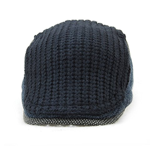 f00437c4ad9ed YCHY Men s Knitted Wool duckbill Hat Warm Newsboy Flat Scally Cap (Deep  Blue)