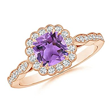 Angara Natural Amethyst Solitaire Ring in Rose Gold 6fiAKv8Tnr