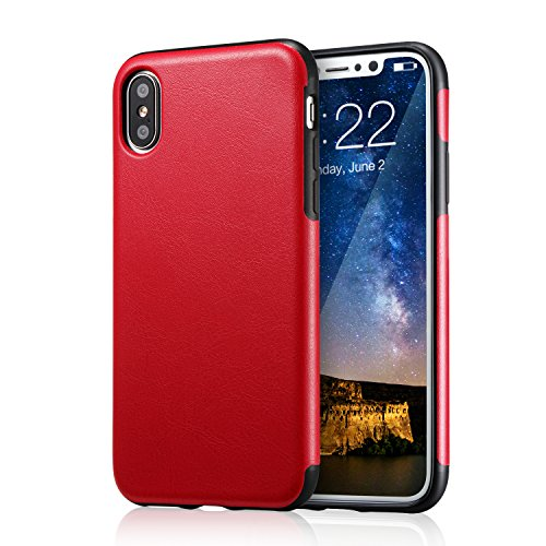 for iPhone Xs Red Leather Case, for iPhone X Case, technext020 Ultra Slim Fit iPhone 10s Artificial PU Synthetic Leather Cover Shock Resistance Protective for Apple iPhone X Red