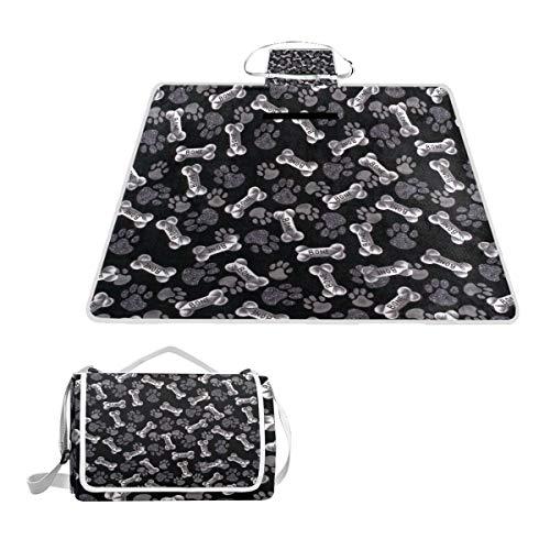 - SLHFPX Bone Dog Paw Picnic Mat Outdoor Camping Beach Travel pad Blanket Mat Waterproof 57