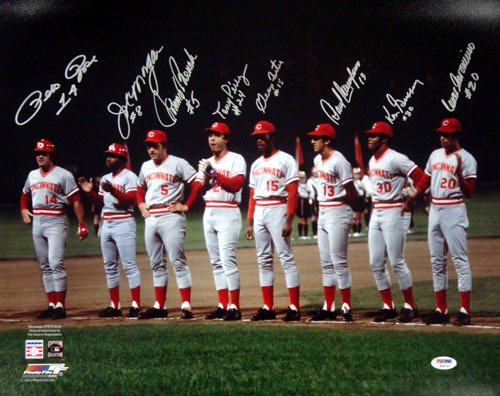 Cincinnati Reds Big Red Machine Autographed 16x20 Photo With 8 Signatures Including Johnny Bench, Pete Rose, Joe Morgan & Tony Perez PSA/DNA