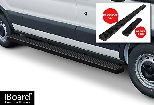 iBoard Running Boards (Nerf Bars | Side Steps | Step Bars) For 2015-2018 Ford Transit Full Size Van | (Black Powder Coated 5 inches) - Edge Running Board