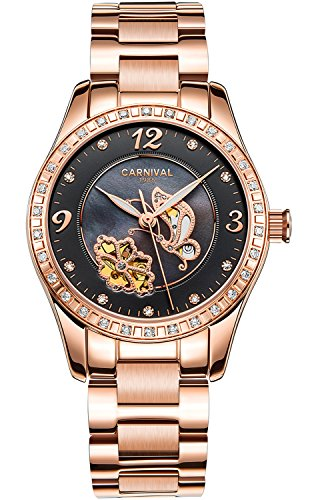 PASOY Women Automatic Watch Rose Gold Skeleton Butterfly Shell Dial Sapphire Crystal Mechanical Watches by PASOY