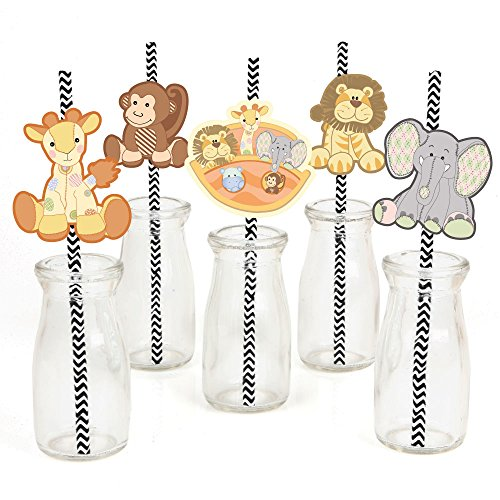 Noah's Ark Paper Straw Decor - Baby Shower or Birthday Party Striped Decorative Straws - Set of -