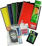 Back to School Bundle: 5 Notebooks, 11 Pens, 10 Pencils, 2 Erasers, 1 Pencil Sharpener