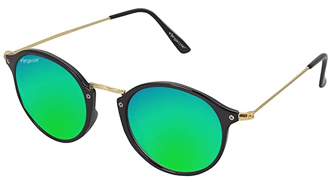 ea3c0f4192dc Image Unavailable. Image not available for. Colour  Elegante Golden Frame  Bluish Green Mirrored Unisex Oval Sunglasses ...