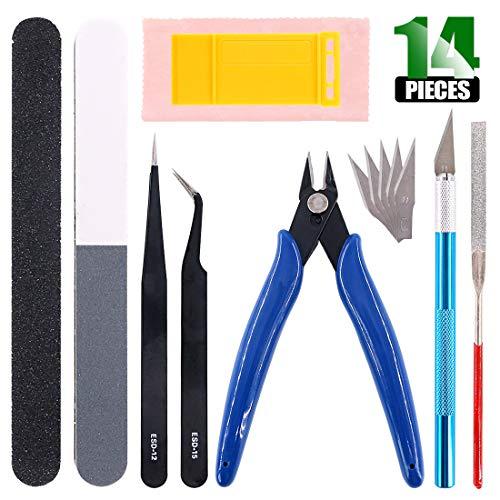 (Keadic Professional 14Pcs Gundam Model Basic Tools Craft Set with a Plastic Case for Various Model Assemble Building(Kit 7))
