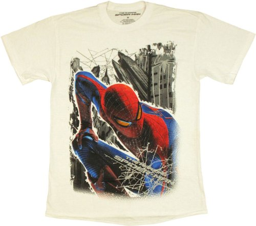 Marvel Men's Amazing Spiderman Stalking Spiderman T-Shirt, White, Large