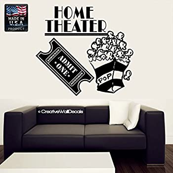 CreativeWallDecals Wall Decal Vinyl Sticker Decals Art Decor Design Sign Home Theater Movie Film Ticket Family Pop Corn Night Friends Bedroom Dorm Modern(r385)