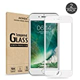 (Pack of 2) Screen Protector for iPhone 7 Plus 8 Plus, Akwox Full Cover for iPhone 7 Plus 8 Plus Tempered Glass Screen Protector with ABS Curved Edge Frame (White)