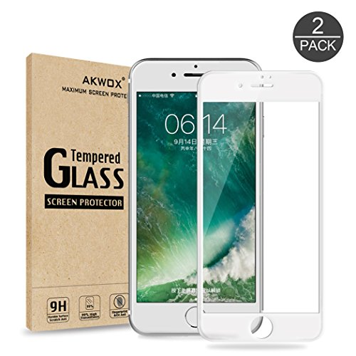 (Pack of 2) Screen Protector for iPhone 7 Plus 8 Plus, Akwox Full Cover for iPhone 7 Plus 8 Plus Tempered Glass Screen Protector with ABS Curved Edge Frame (White) ()