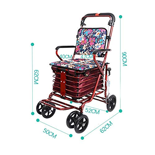 Rollator Walker Petite,with Fold Up Removable Back Support with Seat and Lower Basket Lockable Brake Auxiliary Walking Safety Walker (Color : Red) by YL WALKER (Image #2)