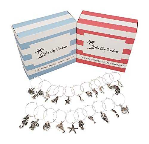 Beautiful Bundle of Beach and Girl Power Themed Wine Charms - 21 Piece Gift Set