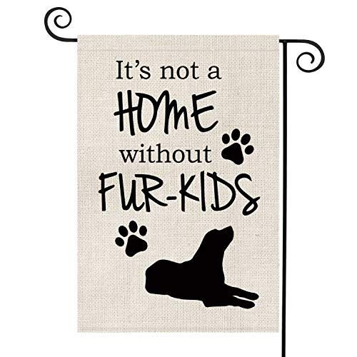 AVOIN It is Not A Home Without Fur-Kids Garden Flag Vertical Double Sided Pet Dog, Pawprints Silhouette Burlap Flag Yard Outdoor Decoration 12.5 x 18 Inch