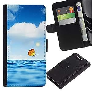 KingStore / Leather Etui en cuir / Sony Xperia Z3 Compact / Nubes Mariposa Azul Mar Naturaleza