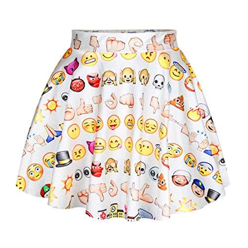 YICHUN Femme Fille Mini Jupe Jupon Court Jupe de Plage Jupe de Soire Skirt Shorts Emoji Imprim Dshabill 3#