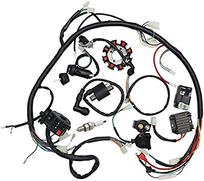 wiring harness kit for atv amazon com complete electrics wiring harness kit ignition coil  complete electrics wiring harness kit