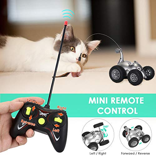 SlowTon Remote Cat Feather Toy, Mouse Shape Interactive Moving Automatic Robotic Rat Sound Chaser Prank Car for Kitten | Stimulate Cat Hunting Instincts | Funny Gifts for Pet (No Battery Included) 5