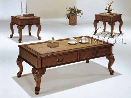 3-pc Pack Classic Trudeau Style Coffee Table Set w/Drawer Acs90652