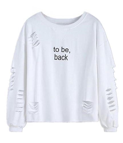 Kerlana T Shirt Mujeres Camiseta Con Manga Larga Cuello Redondo Camisa Ocasionales Blouses Agujeros ...