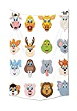 Cartoon Decor Collection Cartoon Comic Design of Collection of Smiling Animal Faces Visages Koala Fox Pi Caricature Bedroom Living Room Dorm Wall Tapestry Multi