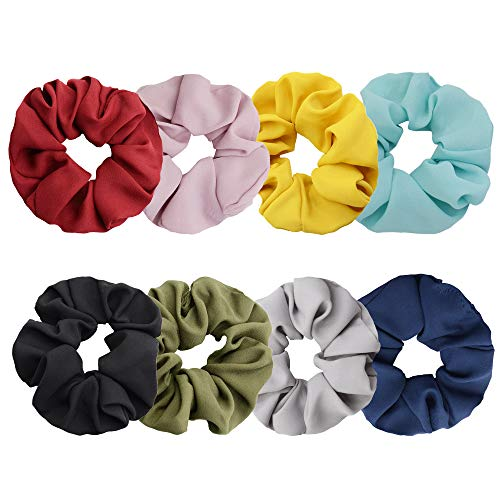 Chloven 8 Pack Hair Scrunchies Large Women's Chiffon Flower Cotton Scrunchies Hair Ties Hair Bow Chiffon Hair Accessories,Solid Color Hair Bands (8 Colors) from Chloven