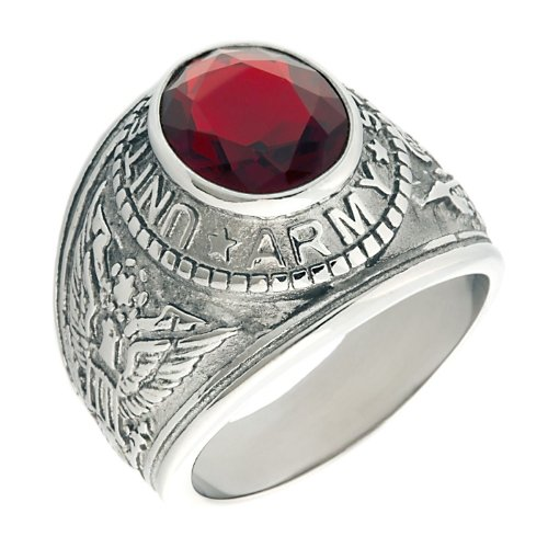 Army: Mens 5.0ct Simulated Ruby USA Army Military Signet Ring 316 Stainless Steel, 3060 sz 13.5