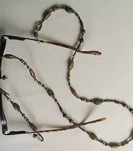 Dragon Blood Jasper and Handmade Paper beads Eyeglass Chain - Sunglasses Wood Den Dragons