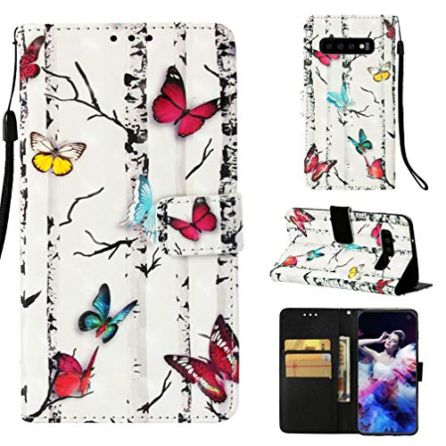 Case for Galaxy S10,Flip Anti Sliding Card Holder Full Cover with Card Premium Pu Leather with Inner Rubber Bumper Shock Absorbent Kickstand Case Compatible with Samsung Galaxy S10 -Butterflies ()