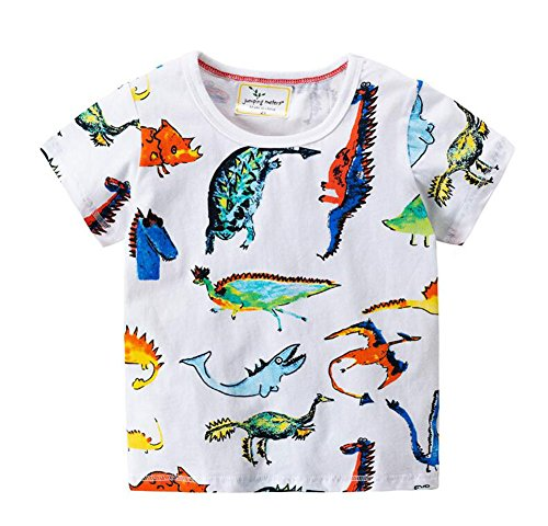 Kids Printed T-shirts - Onlyso Toddler Little Boys Dinosaur Printed Tee Shirts Short Sleeve Tops (4T, White)
