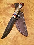 Handmade Deer Antler Handle Hunting Knife Damascus Blade Stag Collection With Leather Sheath Premium (A227)
