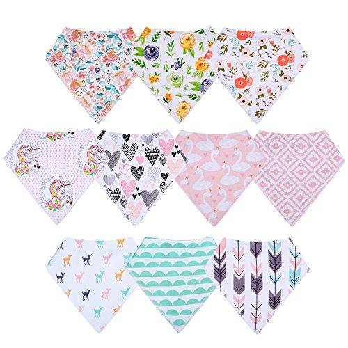 10-Pack Baby Girl Bandana Drool Bibs Gift Set for Drooling Teething by MiiYoung by MiiYoung (Image #1)
