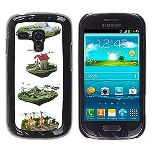 Cgi Granja Dibujos animados dibujo diseño blanco- Metal de aluminio y de plástico duro Caja del teléfono - Negro - Samsung Galaxy S3 MINI i8190 (NOT S3)