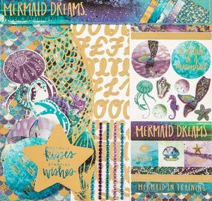 Mermaid Dreams 12x12 Scrapbooking Page Kit, Tails, Scales, Shells, Ocean Life, Photo Albums