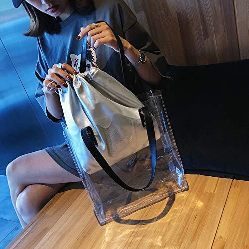 Jelly Fashion Beach Saoga pezzi Due Bag Argento Trasparente Bianco Bag Trasparente qBwREIU