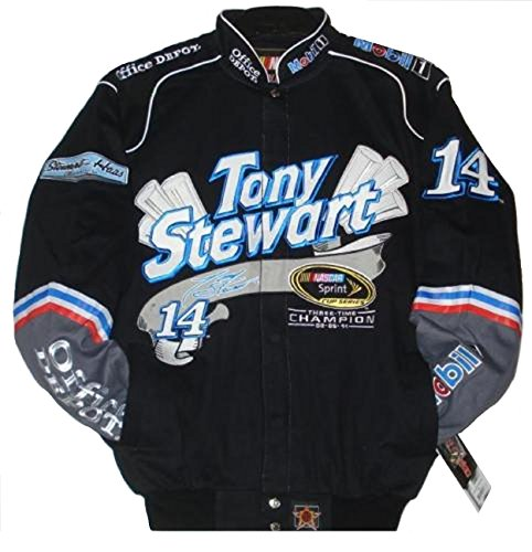 Nascar Tony Stewart Sprint Cup Series Champion 3 Times Cotton jacket Size - Twill Jacket Black Stewart Cotton