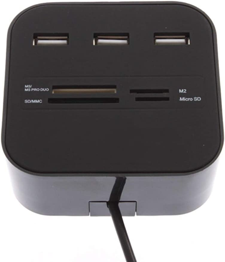 M2 MS US Value-5-Star 3 ports USB 2.0 All In One Multi card Reader hub Combo for SD//MMC