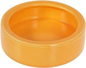 POPETPOP Pet Bowl Anti-Escape Ceramics Food Round Basin Feeding Water Bowl Turtle Gecko Chameleon Small Animals Size M (Orange)