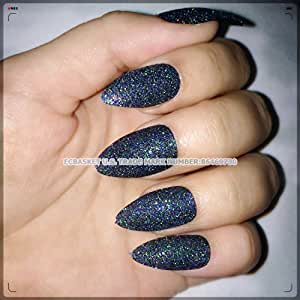 ECBASKET Press On Nails Glitter Witch Black Fake Nails Almond Nails Pointed Nail Tips 24 PCS Stiletto Nails For Halloween Costume Nail Decorations