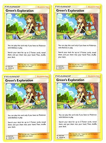 Trainer Card Play Set - Green's Exploration 175/214 - Sun Moon Unbroken Bonds - 4 Card Lot