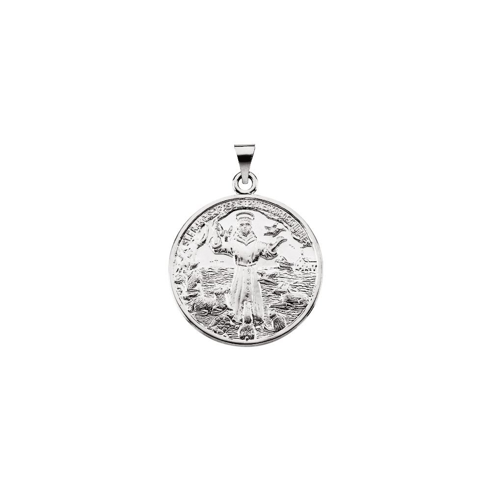 Sterling Silver 26mm St Francis of Assisi Medal