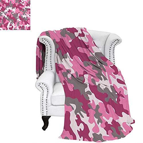 WilliamsDecor Camo Travel Throw Blanket Cute Sweet Pattern in Pink Tones Feminine Design Girlish Vibrant Artistic Velvet Plush Throw Blanket 90