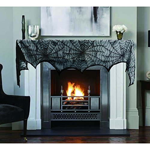 Hokic Halloween Decoration Halloween Black Lace SpiderWeb Fireplace Mantle Scarf Cover For Halloween Party Supplies 18 x 96 Inch ()