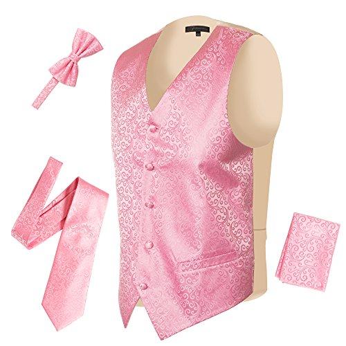 Ferrecci Mens 5 Button Adjustable Paisley Floral Design Pink Cream Vest Set by Ferrecci