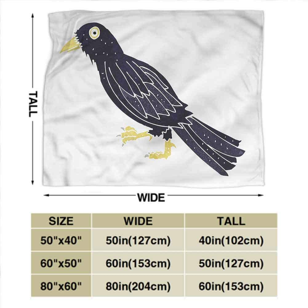dsdsgog Flannel Blankets Home Cute Soft Bird,Exotic Parrot on Floral Branch,40x50 for Sofa Chair Bed Office Travelling Camping